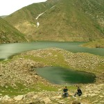 Kaghan Valley -  Lulusar Lake with a child lake
