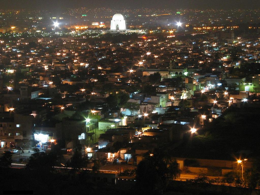 Mazar-e-Quaid - Muhammad Ali Jinnah Karachi Pakistan- a bird view in night