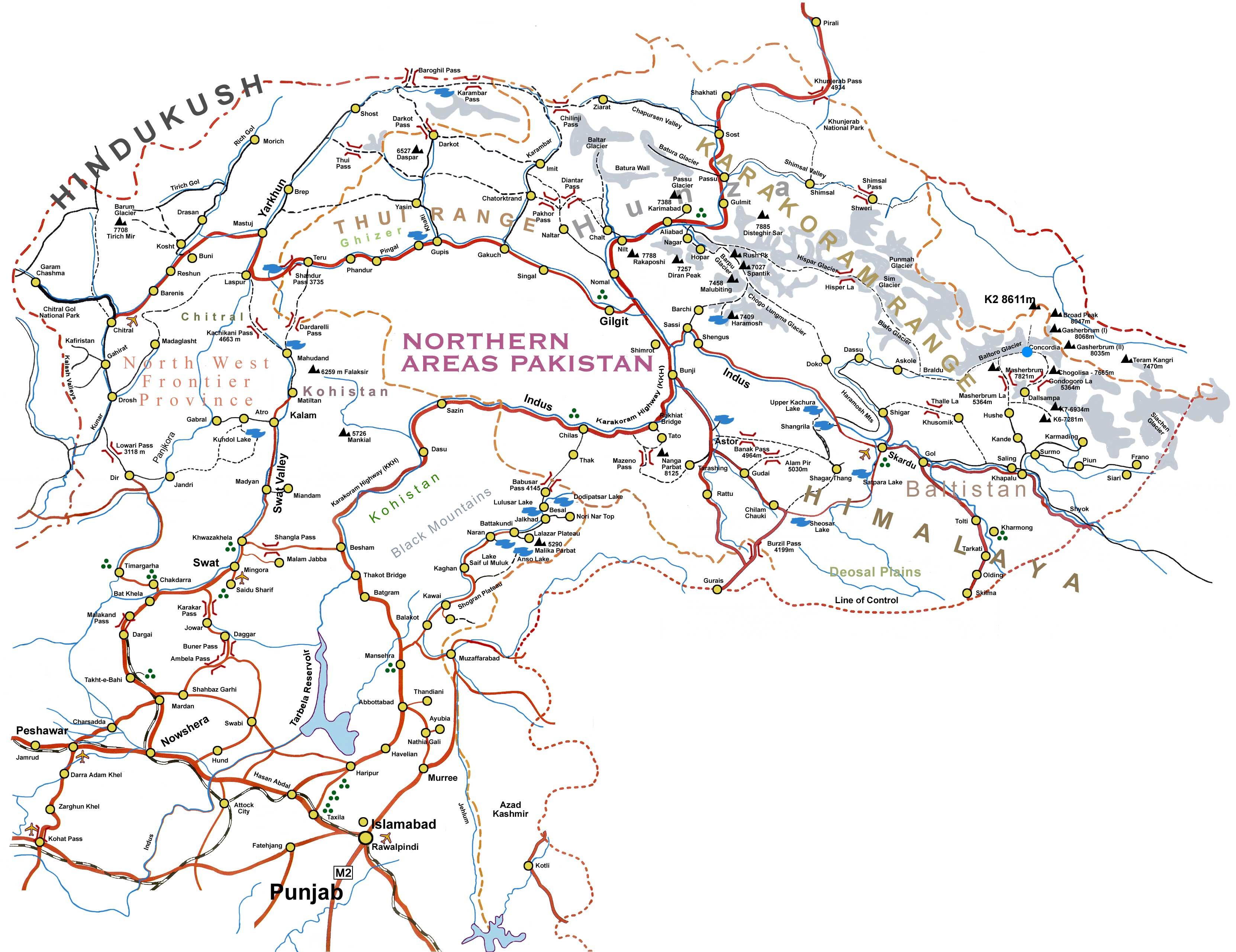 Northern Areas Pakisatn Detail Map - Maps of pakistan