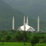 Faisal Mosque with lush green forests in Islamabad