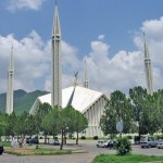 Shah Faisal Mosque Islamabad with cloud on sky
