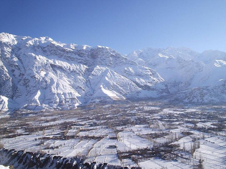 chitral booni village in winter with snow during. Black Bedroom Furniture Sets. Home Design Ideas