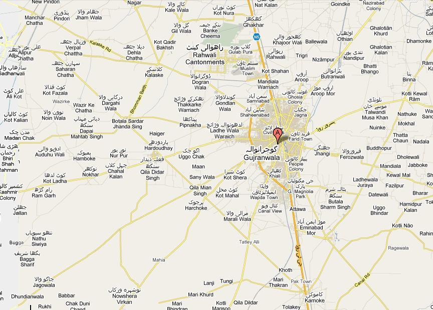 Gujranwala – Map of city and its surrounding Villages towns