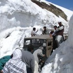 Lowari Top Chitral - a jeep struck into snow after snowfall in the mountains