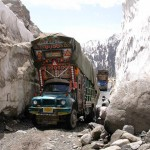 Lowari Top Chitral - a truck halted in way due to blockage