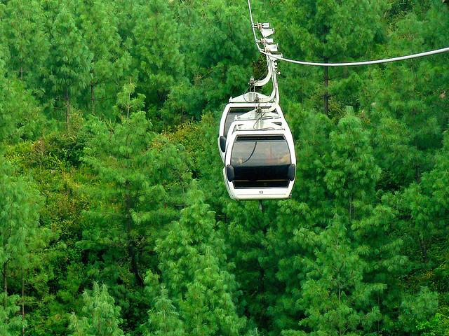 Cable Chair Lift : Patriata new murree cable car over a lush green forests