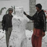 Skardu peoples enjoying snow