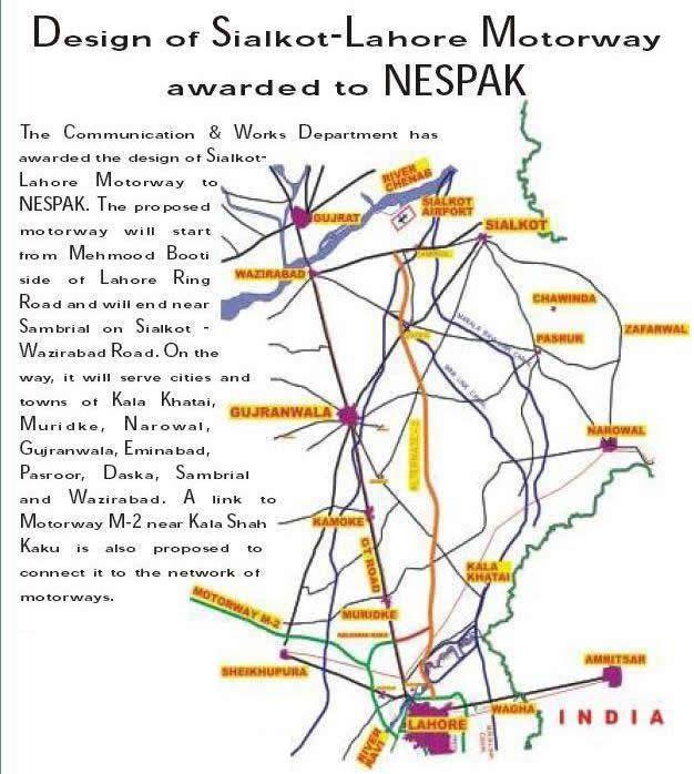 sialkot lahore Sialkot motorway map