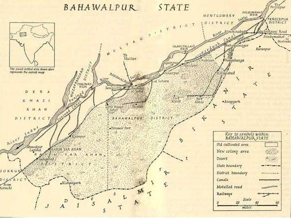 Bahawalpur State Map before creation of Pakistan in 1947