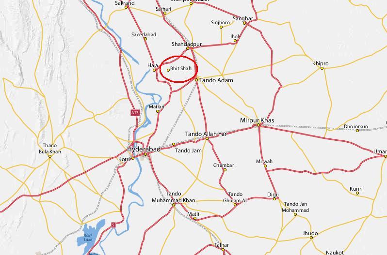 Location Map of Bhit Shah Shrine of Shah Abdul Latif Bhitai Between Hala Shahdadpur Matiari and Tando Adam in Hyderabad District Sindh Pakistan
