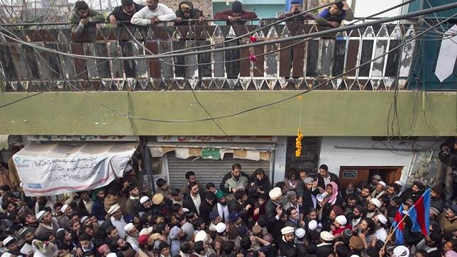 People Gathers out side Mumtaz Hussain Qadri in Rawalpindi after release of his father Malik Muhammad Bashir on Friday 7 january 20114