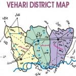 Vehari District Map showing tehsils