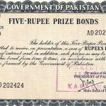 Five Rupee prize bond picture