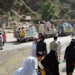 Mingora Swat Residents flee in Army Operation 2009