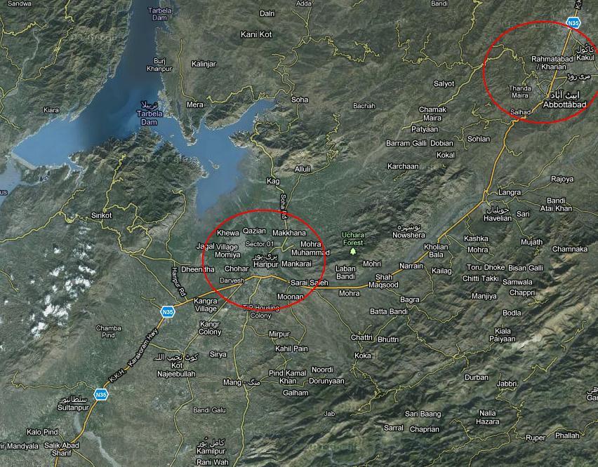 Satellite Location Map Haripur Abbottabad Tarbela Dam - Satellite location map