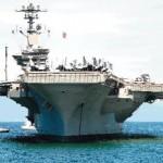 US aircraft carrior USS Carl Vinson anchores off Manila Bay philipine