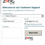 Zong Web Support - Online Customer Care Setup