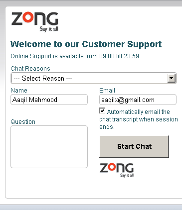 Zong Live Web Support