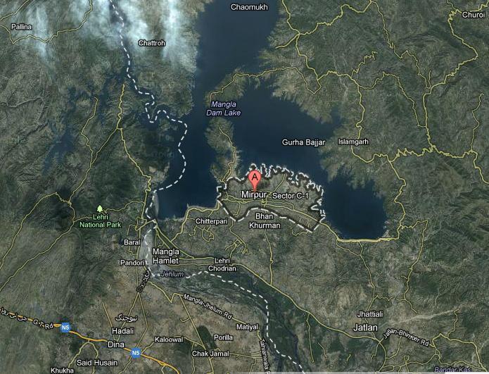 Mirpur Azad Kashmir City Sattelite Map