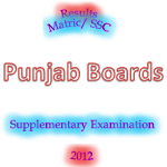 Punjab Boards Matric/SSC Supply Result 2012