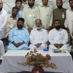Professor Ghafoor Ahmed (centre) served as Jamaat-i-Islami secretary general