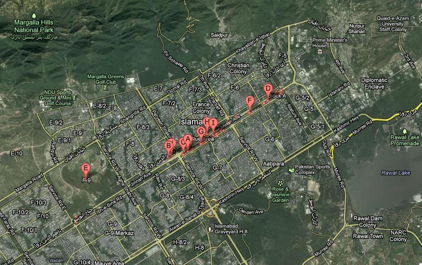 Jinnah Avenue Islamabad Satellite Map