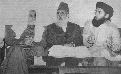 Qazi Hussain Ahmad with Gulbadin Hikmatyar and Ikhwani Egyptian
