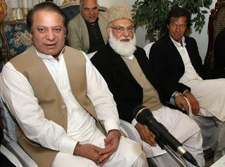 Qazi Hussain Ahmed with Nawaz Sharif and Imran Khan