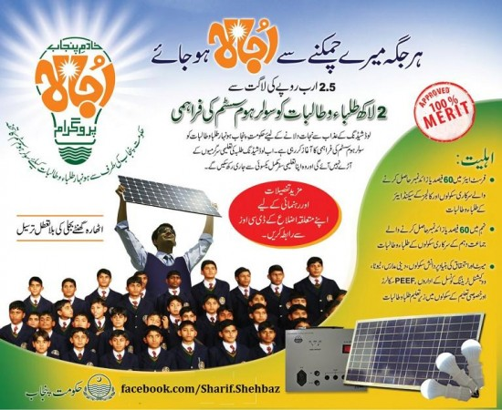 Shahbaz Sharif Solar Solar System Panels for students - Punjab ojala Progran