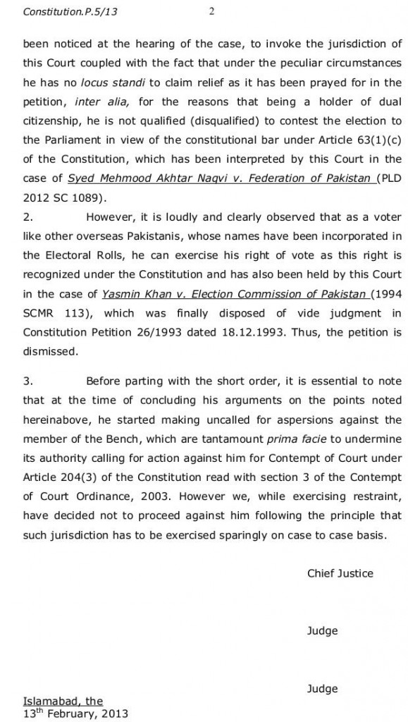 Copy of Supreme Court Order in Tahirul Qadri Case dated 13/2/2013 (Page 2)