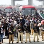 Metro bus system in Lahore and crowd