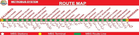 Punjab MetroBus System Lahore Route Map