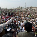 PMLN Chief Mian Nawaz Sharif addressing a huge public gathering in Larkana Naodero