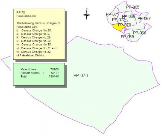 PP-70 Faisalabad Constituency Map