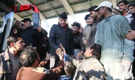 Shahbaz Sharif with Metro Bus Project Workers