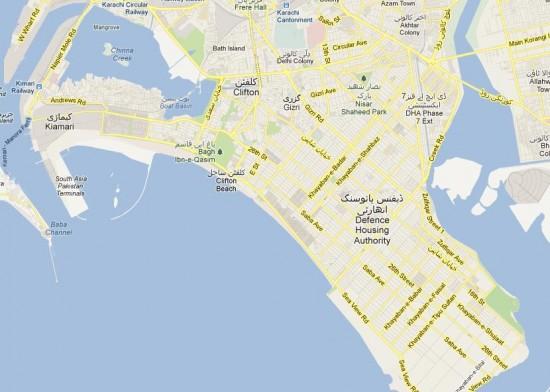 Map Karachi Clifton DHA - NA 250