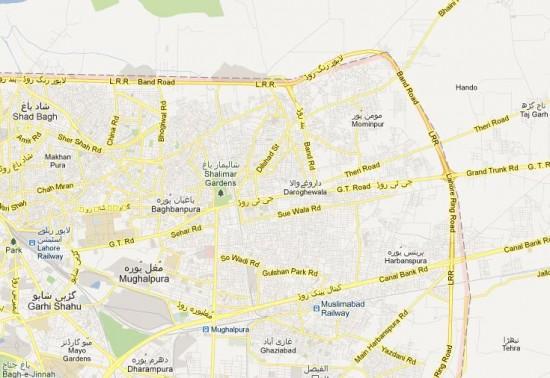 NA-124 Lahore Areas Street Map, Mughalpura, Ghaziabad, Harbanspura, Taj Garh, Darogawala, Mustafaabad, Mominpura