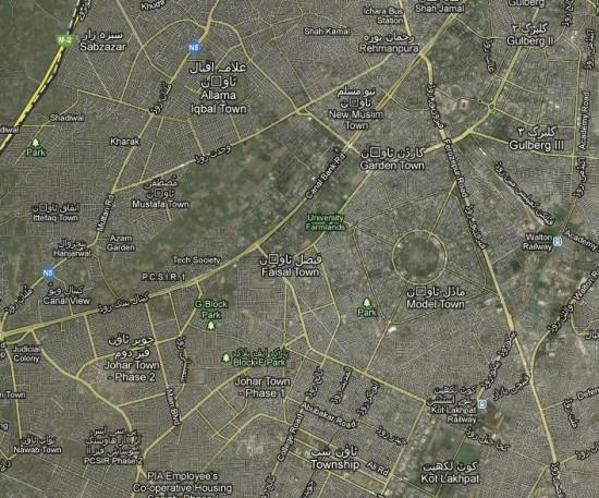 NA-126 Lahore Areas Satellite Map, Gulberg, Garden, Faisal, Iqbal, Faisal, Muslim, Johar, Model Town, Township