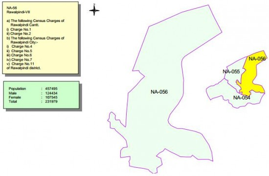 NA-56 Rawalpindi (City, Cantt) Constituency Map