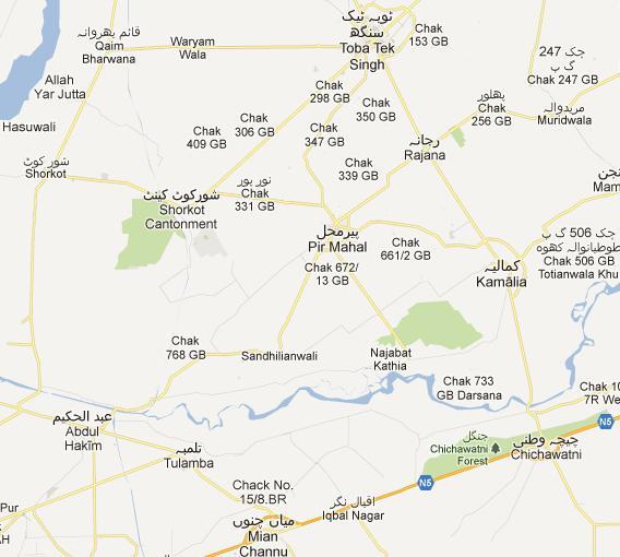 NA TT Singh Constituency Street Map Peer Mahal Kamalia - Pir mahal map