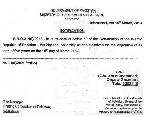 National Assembly dissolution Notification after 5 years