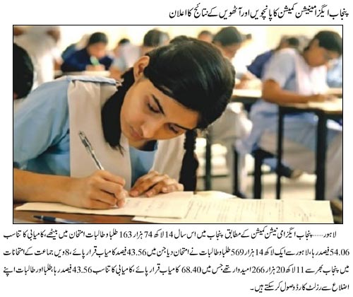 Punjab Examination Commission announced 5th, 8th classes result 2013