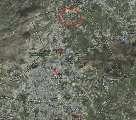 Satellite Map Mansehra City Thakra Stadium