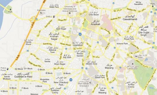 Street Map NA-120 Lahore, Anarkali, Sanda, Islampura, Mozang, Mall Road