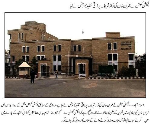ECP Notices Imran Khan Niazi Address in Bahawalpur