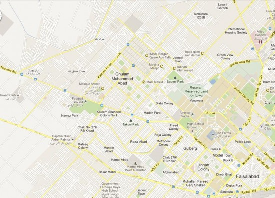 Faisalabad City NA-85 Detail Street Map