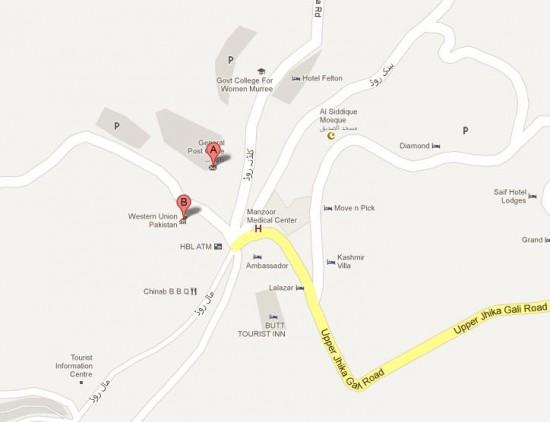 GPO Chowk Murree City Location Map