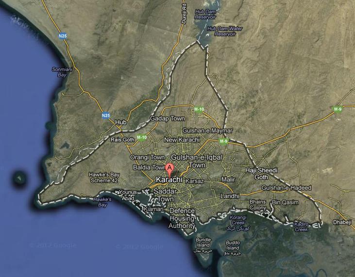 karachi city satellite map