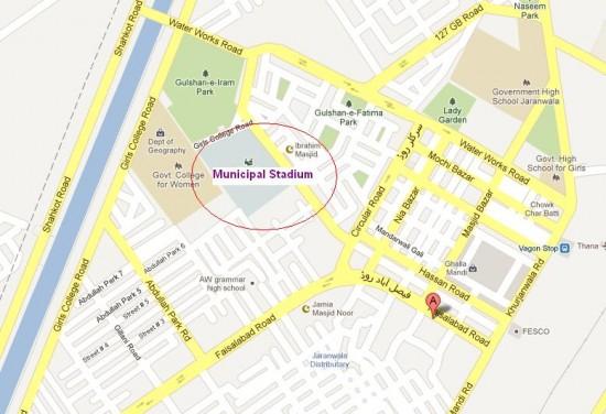 Municipal (Jinnah) Stadium Jaranwala Location Map