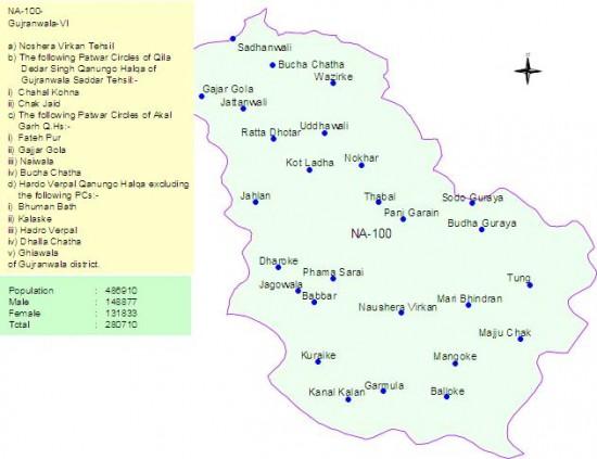 NA-100 Gujranwala Constituency Map - Sandhanwali, Nosheran Virkan, Fatehpur, Bucha Chatha